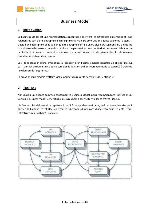 1  Business Model 1. Introduction Le business Model est une représentation conceptuelle décrivant les différentes dimensio...