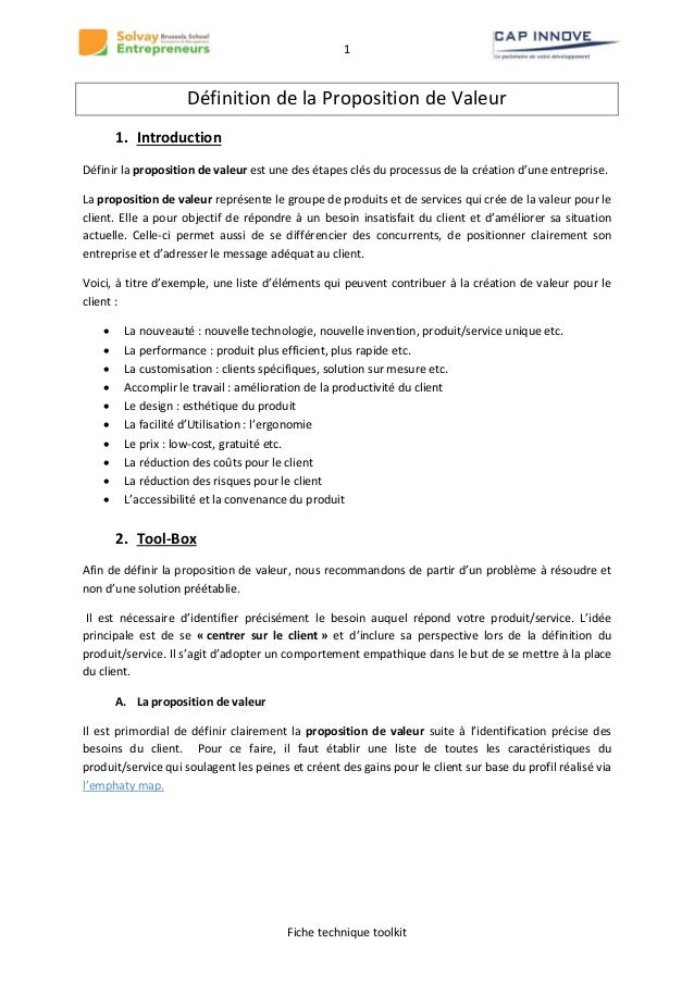 1  Définition de la Proposition de Valeur 1. Introduction Définir la proposition de valeur est une des étapes clés du proc...