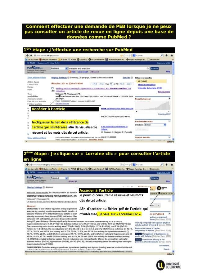 Comment effectuer une demande de PEB lorsque je ne peux pas consulter un article de revue en ligne depuis une base de donn...