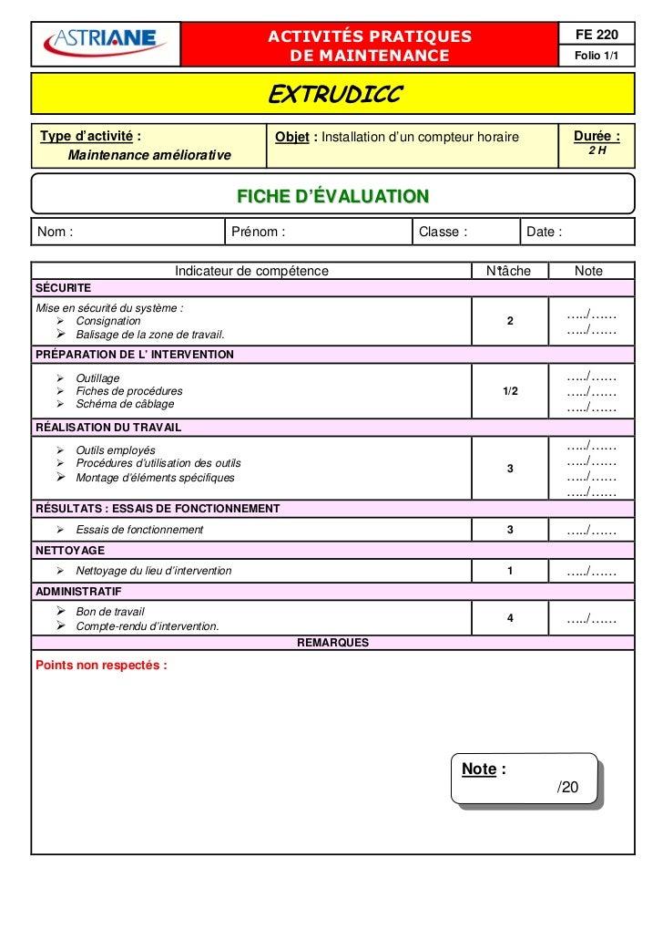ACTIVITÉS PRATIQUES                                     FE 220                                                 DE MAINTENA...
