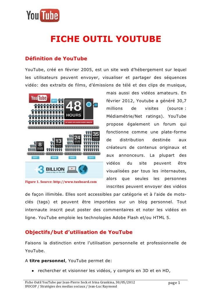 FICHE OUTIL YOUTUBEDéfinition de YouTubeYouTube, créé en février 2005, est un site web d'hébergeme...