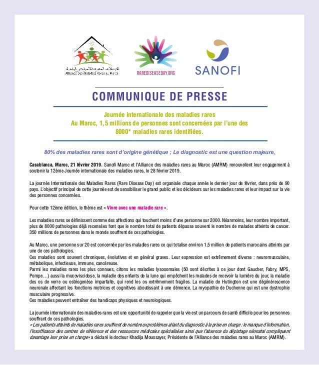 COMMUNIQUE DE PRESSE 80% des maladies rares sont d'origine génétique ; Le diagnostic est une question majeure, Casablanca,...