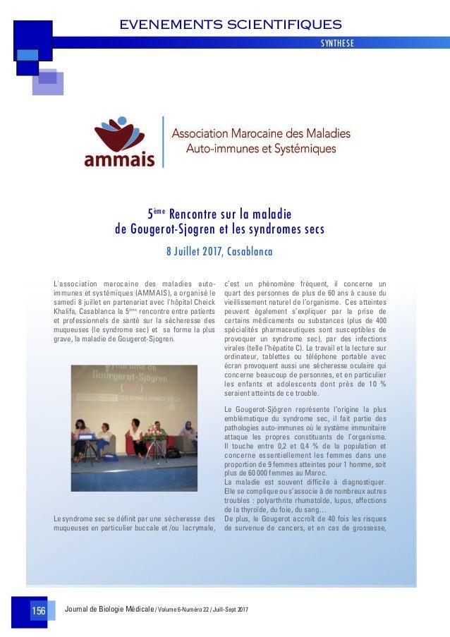 Journal de Biologie Médicale / Volume 6-Numéro 22 / Juill-Sept 2017 EVENEMENTS SCIENTIFIQUES 156 L'association marocaine d...