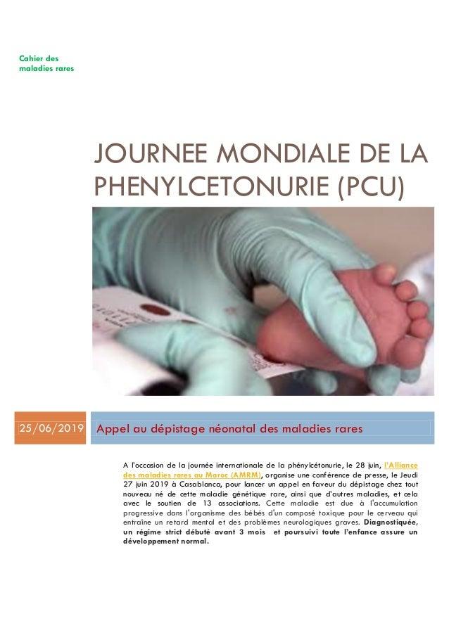 Cahier des maladies rares JOURNEE MONDIALE DE LA PHENYLCETONURIE (PCU) 25/06/2019 Appel au dépistage néonatal des maladies...
