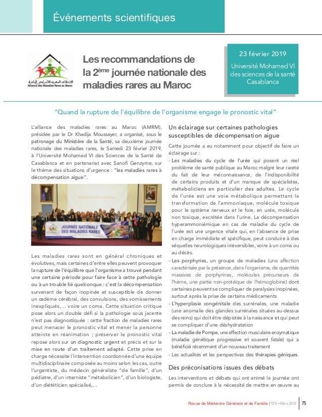 Revue de Médecine Générale et de Famille / N°9 • Mars 2019 75 Événements scientifiques 11-13 Mars 2017 Hôtel Sofitel Rabat...