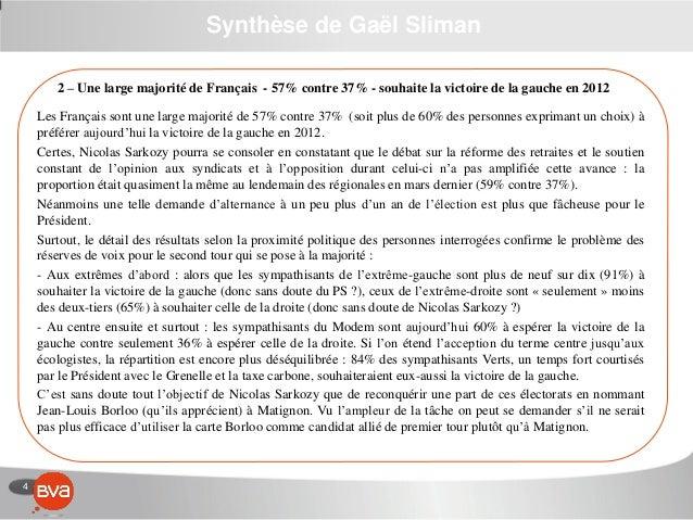 4 Synthèse de Gaël Sliman 2 – Une large majorité de Français - 57% contre 37% - souhaite la victoire de la gauche en 2012 ...