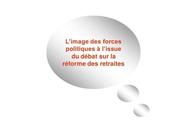 L'image des forces politiques à l'issue du débat sur la réforme des retraites
