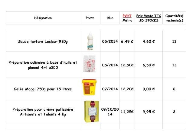 Désignation  Photo  Dluo  PVHT Métro  Prix Vente TTC JD STOCKS  Quantité(s) restante(s)  Sauce tartare Lesieur 920g  05/20...