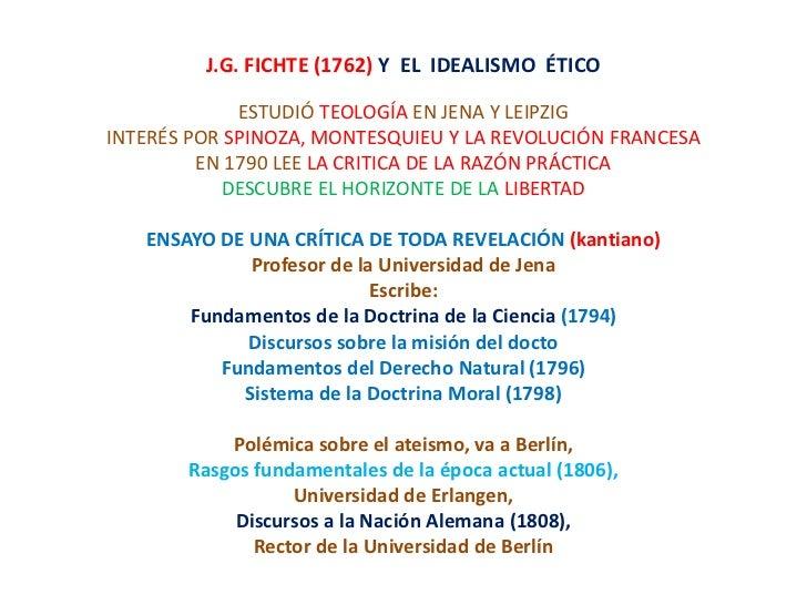 Fichte (1762) y  el  idealismo  ético
