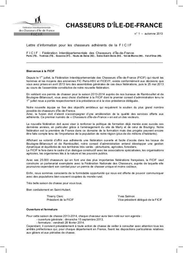 des Chasseurs d'Ile-de-France  CHASSEURS D'ÎLE-DE-FRANCE n° 1 – automne 2013  F.I.C.I.F.  Lettre d'information pour les ch...
