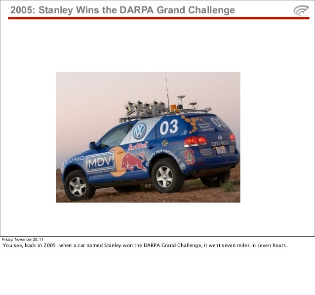 2005: Stanley Wins the DARPA Grand ChallengeFriday, November 25, 11You see, back in 2005, when a car named Stanley won the...