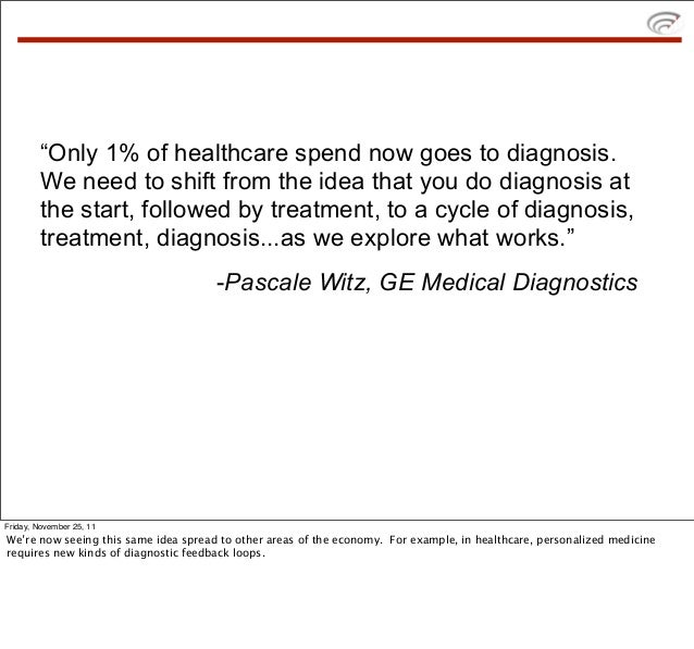 """""""Only 1% of healthcare spend now goes to diagnosis.        We need to shift from the idea that you do diagnosis at        ..."""