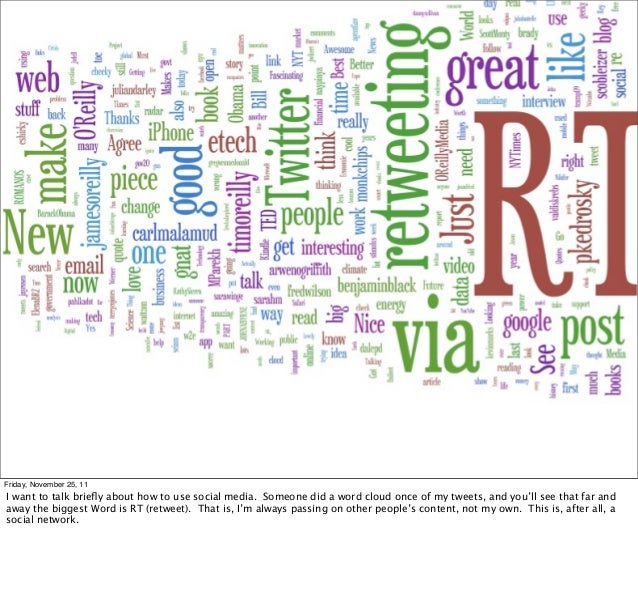retweetradarFriday, November 25, 11I want to talk briefly about how to use social media. Someone did a word cloud once of m...