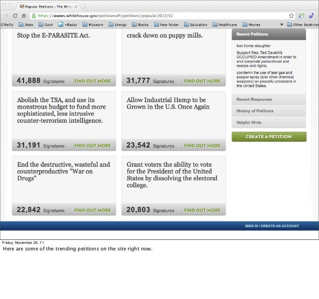 Friday, November 25, 11Here are some of the trending petitions on the site right now.