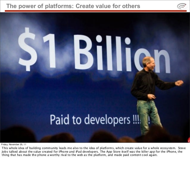 The power of platforms: Create value for othersFriday, November 25, 11This whole idea of building community leads me also ...