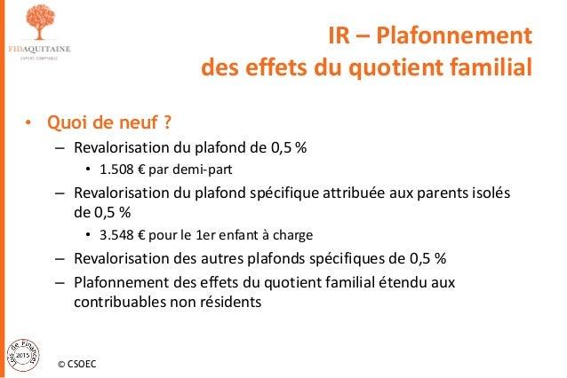 Loi de finances 2015 - Plafond du quotient familial ...