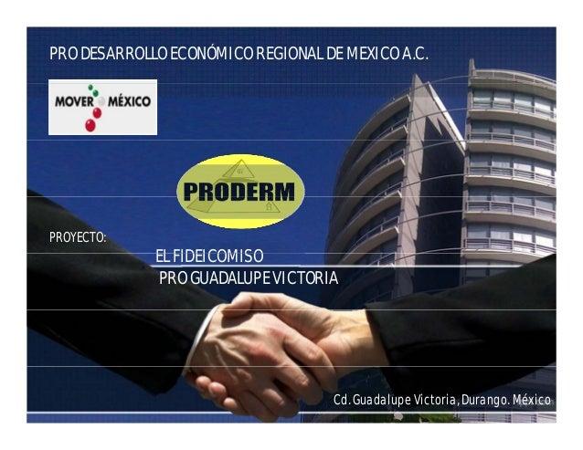 PRO DESARROLLO ECONÓMICO REGIONAL DE MEXICO A.C. PROYECTO: EL FIDEICOMISOEL FIDEICOMISO PRO GUADALUPE VICTORIA Cd. Guadalu...