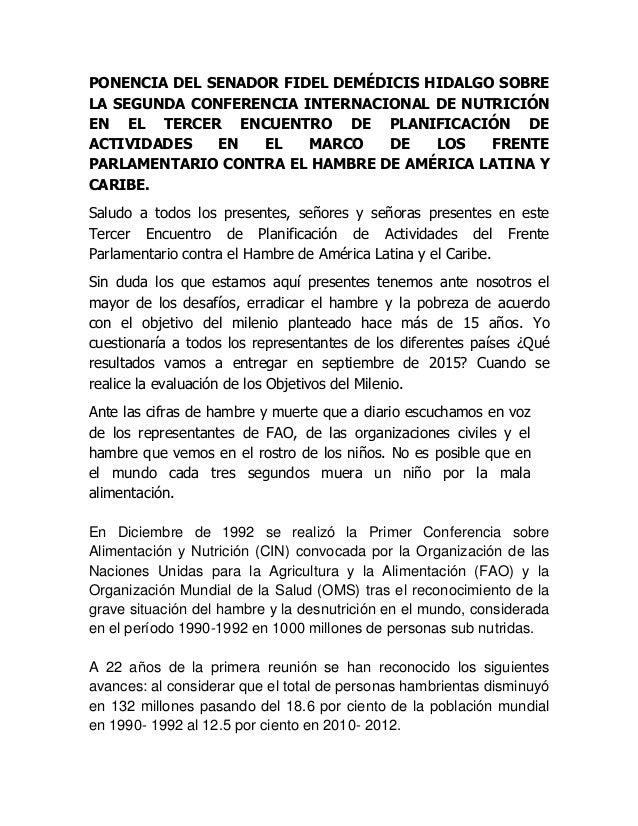 PONENCIA DEL SENADOR FIDEL DEMÉDICIS HIDALGO SOBRE LA SEGUNDA CONFERENCIA INTERNACIONAL DE NUTRICIÓN EN EL TERCER ENCUENTR...
