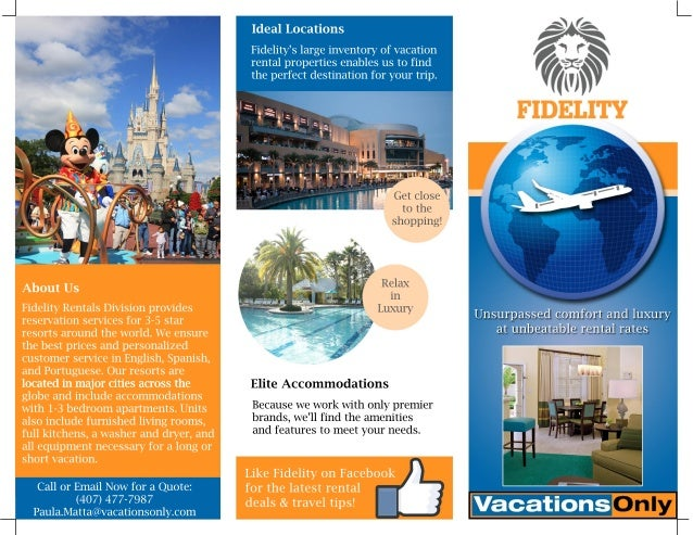 Fidelity Vacation Rentals Division brochure