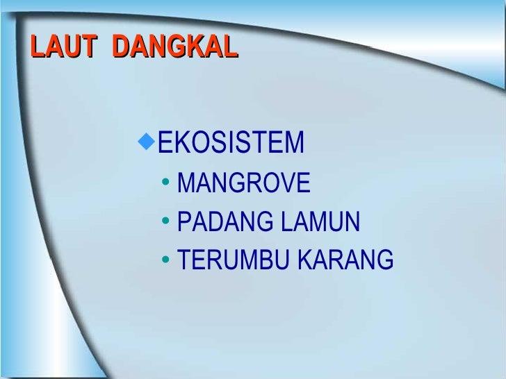 LAUT  DANGKAL <ul><li>EKOSISTEM  </li></ul><ul><ul><li>MANGROVE </li></ul></ul><ul><ul><li>PADANG LAMUN </li></ul></ul><ul...