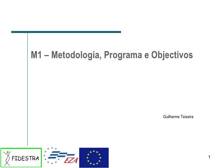 M1 – Metodologia, Programa e Objectivos Guilherme Teixeira