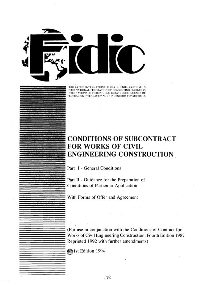 Fidic conditions of subcontract agreement