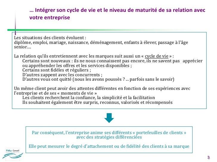 … Intégrer son cycle de vie et le niveau de maturité de sa relation avec votre entreprise<br />Les situations des clients ...