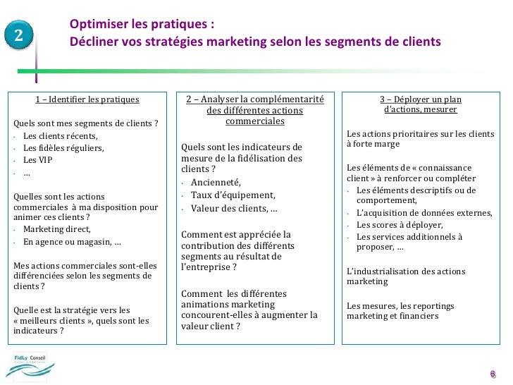 2<br />1 – Identifier les pratiques<br />Quels sont mes segments de clients ?<br /><ul><li>Les clients récents,