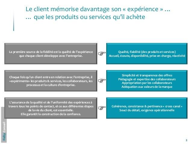 2Le client mémorise davantage son « expérience » …… que les produits ou services qu'il achèteLa première source de la fidé...