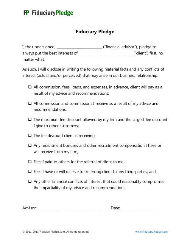 fiduciary pledge. Black Bedroom Furniture Sets. Home Design Ideas