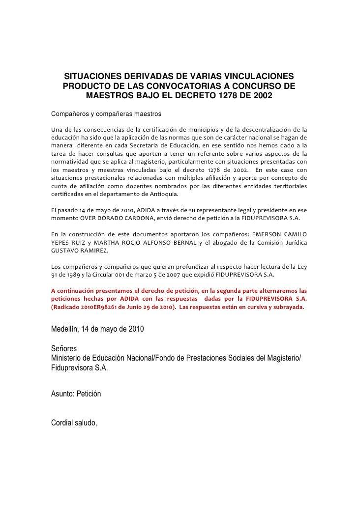 SITUACIONES DERIVADAS DE VARIAS VINCULACIONES    PRODUCTO DE LAS CONVOCATORIAS A CONCURSO DE        MAESTROS BAJO EL DECRE...