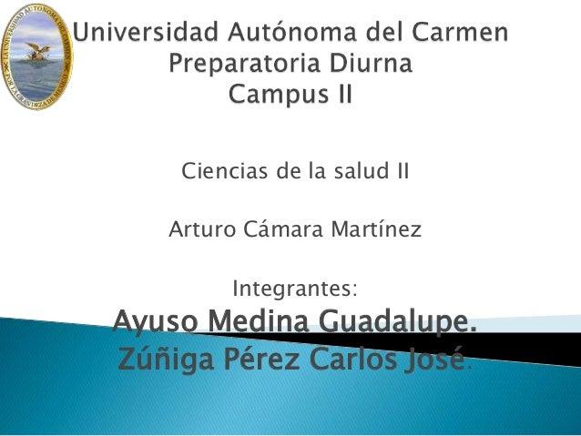Ciencias de la salud II Arturo Cámara Martínez Integrantes: Ayuso Medina Guadalupe. Zúñiga Pérez Carlos José.