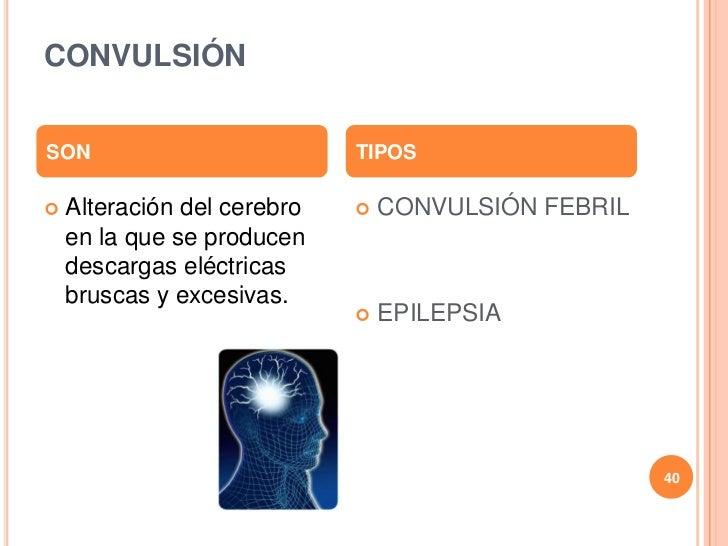 CONVULSIÓNSON                          TIPOS   Alteración del cerebro      CONVULSIÓN FEBRIL    en la que se producen   ...