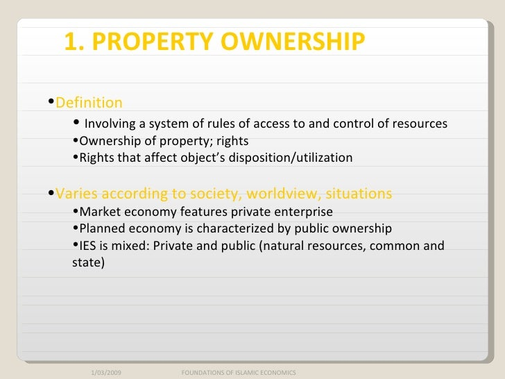 Private Ownership And Control Of Property And Economic Resources