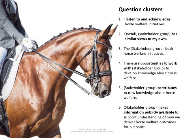 ISES 15th Equitation Science Conference Informing a social licence to operate communication framework Question clusters 1....