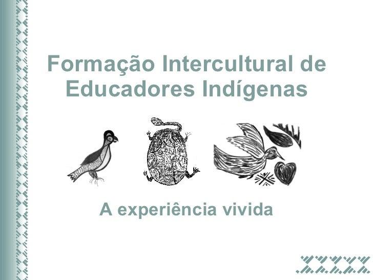 Formação Intercultural de Educadores Indígenas A experi ência vivida
