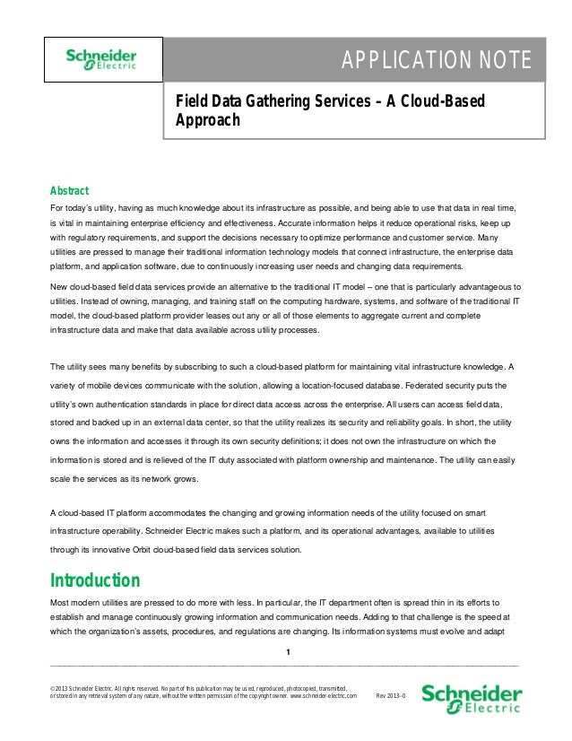 APPLICATION NOTE Field Data Gathering Services – A Cloud-Based Approach  Abstract For today's utility, having as much know...