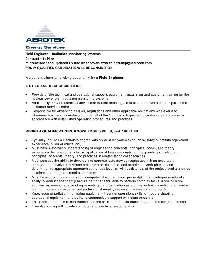 Field Engineer U2013 Radiation Monitoring SystemsContract U2013 To HireIf  Interested Send Updated CV And Brief Cover