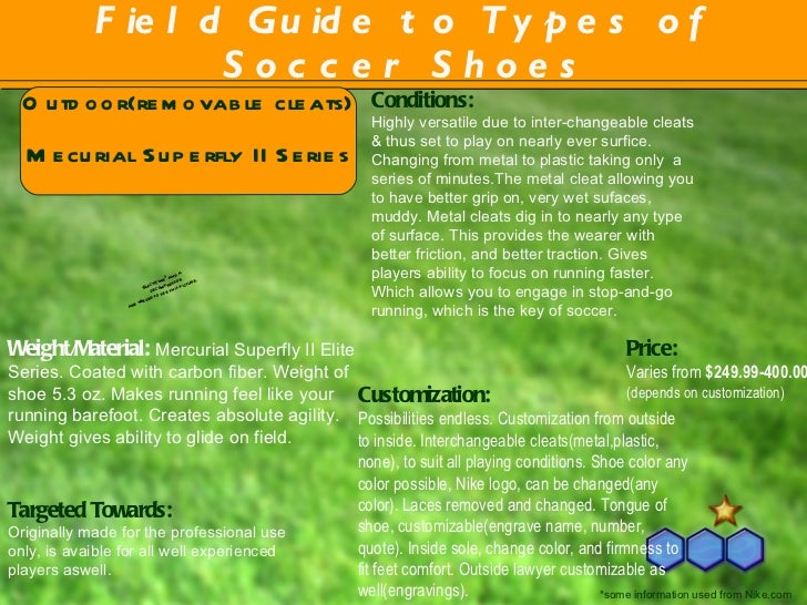 Field Guide to Types of Soccer Shoes Conditions: Highly versatile due to inter-changeable cleats & thus set to play on nea...