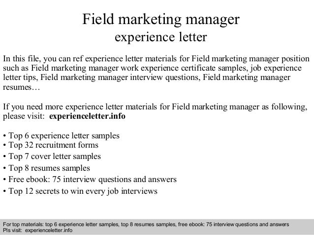 Field Marketing Manager Experience Letter