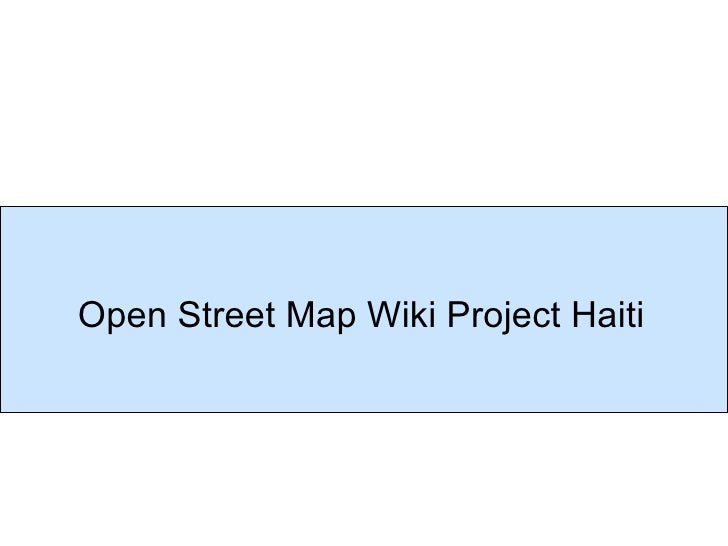 Open Street Map Wiki Project Haiti