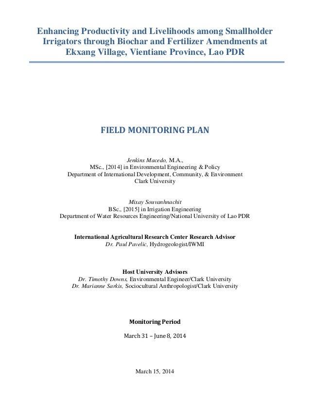 Enhancing Productivity and Livelihoods among Smallholder Irrigators through Biochar and Fertilizer Amendments at Ekxang Vi...