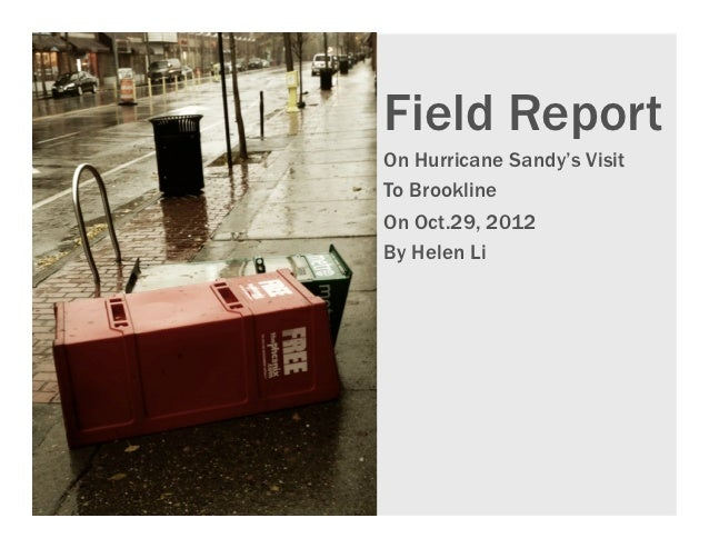 Field ReportOn Hurricane Sandy's VisitTo BrooklineOn Oct.29, 2012By Helen Li