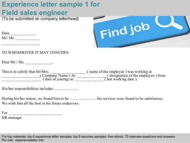 Field sales engineer experience letter experience letter sample altavistaventures Choice Image