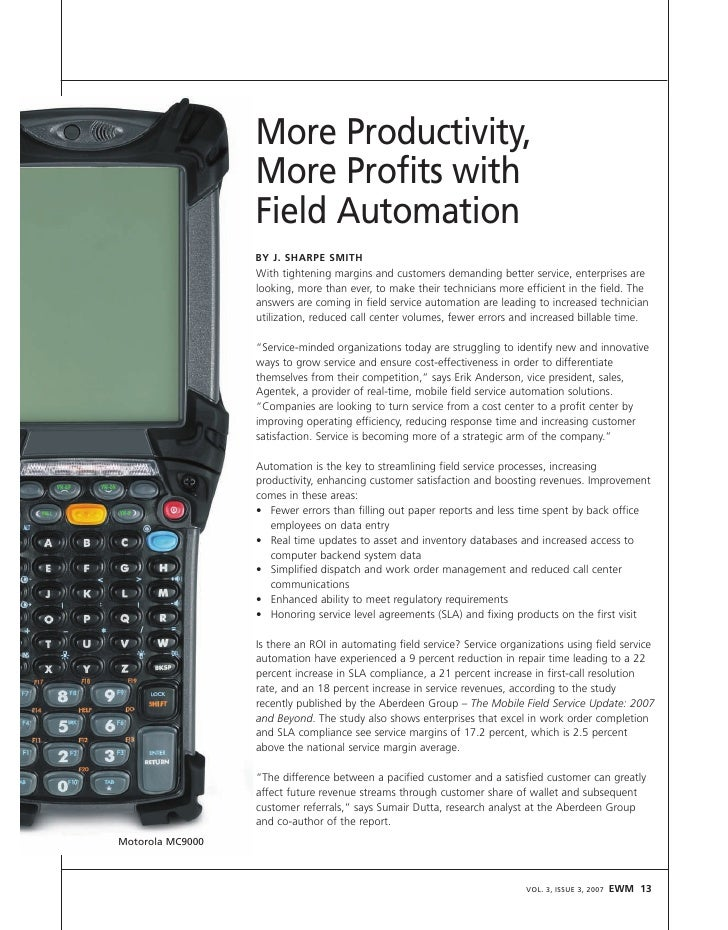 More Productivity,                   More Profits with                   Field Automation                   BY J. SHARPE S...