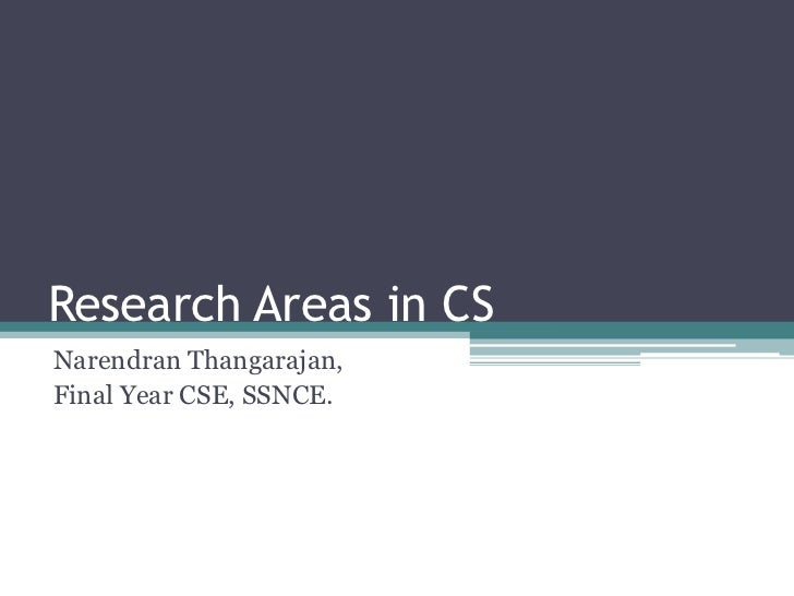 Research Areas in CSNarendran Thangarajan,Final Year CSE, SSNCE.