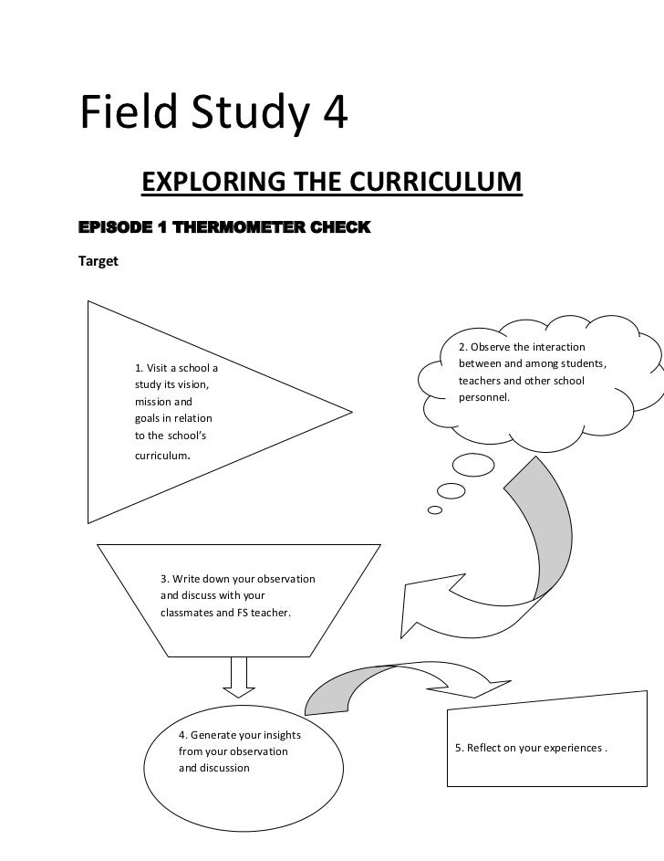Field Study 4 <br />EXPLORING THE CURRICULUM<br />EPISODE 1 THERMOMETER CHECK<br />Target <br />1. Visit a school a study ...