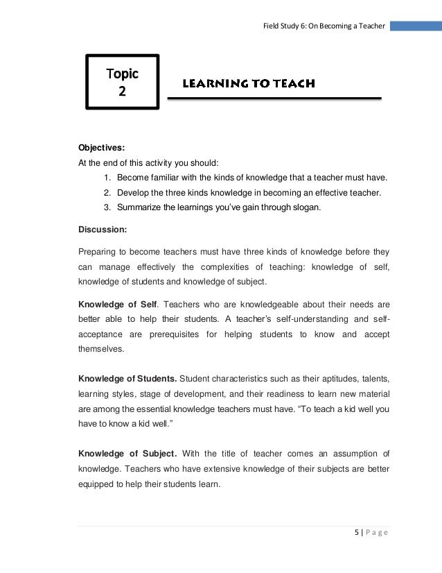 field study 6 on becoming a teacher essay Future of teaching profession  6 chapter 1 to be a teacher   one year on, a case study of how ghanaian teachers.