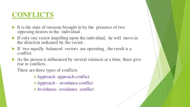 (i) Approach- Approach conflict It arises when the person is caught in between two goals both having positive valences. It...