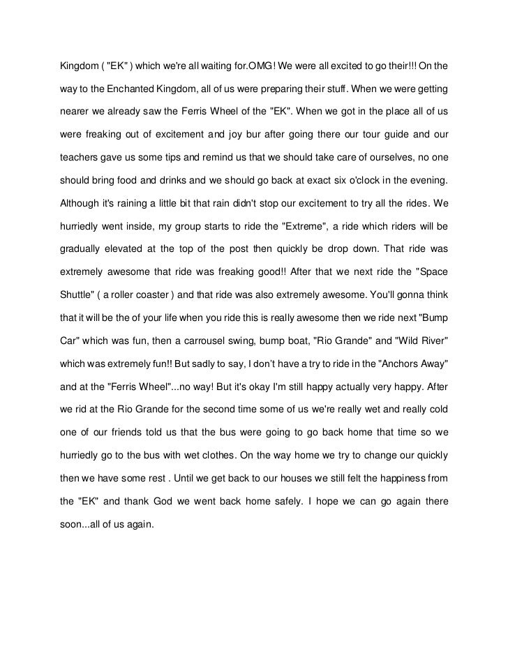 Essay On A Trip  Barcafontanacountryinncom Essay About Field Trip In Enchanted Kingdom Enchanted Kingdom